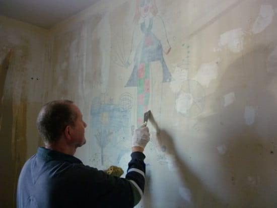 Comment masquer des dessins d 39 enfants sur un mur for Dessin geometrique sur mur